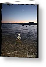 Lake Tahoe Sunset With Rocks And Black Framing Greeting Card