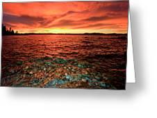 Lake Tahoe...blood Moon Sunset Greeting Card