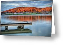 Autumn Red At Lake White Greeting Card by Jaki Miller