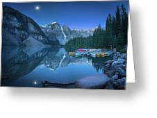 Lake With Moon At Four Am Greeting Card