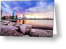 Lakefront Sunset On Rocks Greeting Card
