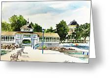 Lakeside Dock And Pavilion Greeting Card