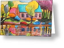 Lakeside Dream House Greeting Card