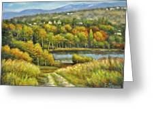 Lakeside Trail In Autumn Greeting Card