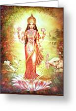 Lakshmi Goddess Of Fortune And Prosperity Greeting Card