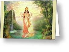 Lakshmi With The Waterfall 2 Greeting Card