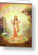 Lakshmi With The Waterfall Greeting Card