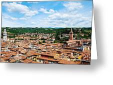 Lamberti Tower View Of Verona Italy Greeting Card