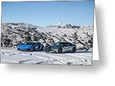 Lamborghini Aventador Sv And Ferrari F12 Tdf Greeting Card