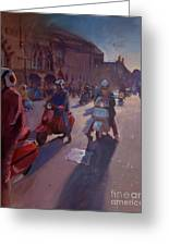 Lambrettas At Winchester Greeting Card
