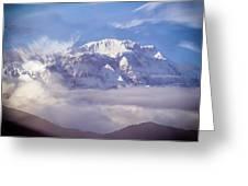 Lamjung Himal Peak Above The Clouds Greeting Card