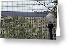 Lamp Post With Building Reflection Greeting Card