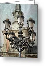 Lamppost Plaza Mayor Madrid Spain Greeting Card