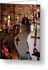 Lamps Inside The Church Of The Holy Sepulchre, Jerusalem Greeting Card