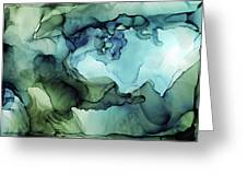 Land And Water Abstract Ink Painting Greeting Card