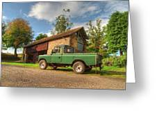 Landrover And The Barn Greeting Card