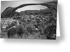 Landscape Arch Bw Greeting Card