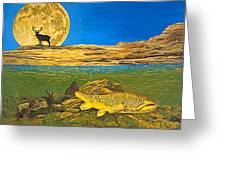 Landscape Art Fish Art Brown Trout Timing Bull Elk Full Moon Nature Contemporary Modern Decor Greeting Card