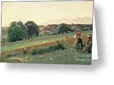 Landscape At Mornex Greeting Card by Jean Baptiste Corot