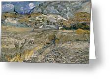 Landscape At Saint Remy Enclosed Field With Peasant Greeting Card