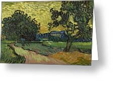 Landscape At Twilight Auvers Sur Oise June 1890 Vincent Van Gogh 1853  189 Greeting Card