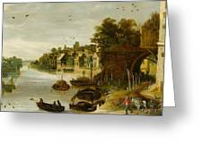 Landscape By A Riverside Town Greeting Card