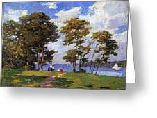 Landscape By The Shore Aka The Picnic Edward Henry Potthast Greeting Card