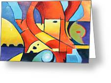 Landscape Figure Abstract Greeting Card