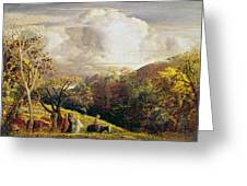 Landscape Figures And Cattle Greeting Card