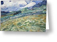 Landscape From Saint Remy At Wheat Fields  Van Gogh Series   By Vincent Van Gogh Greeting Card