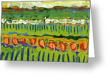 Landscape In Green And Orange Greeting Card