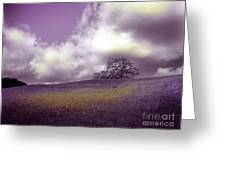 Landscape In Purple And Gold Greeting Card