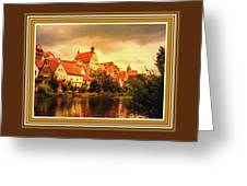 Landscape Scene - Germany. L B With Decorative Ornate Printed Frame. Greeting Card