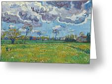 Landscape Under A Turbulent Sky Greeting Card