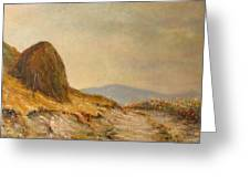 Landscape With A Hayrick Greeting Card