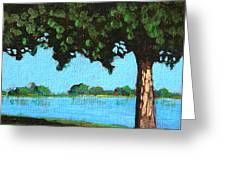 Landscape With A Lake And Tree Greeting Card