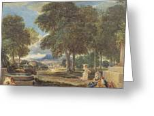 Landscape With A Man Washing His Feet At A Fountain Greeting Card