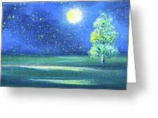 Landscape With A Moon Greeting Card
