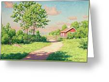 Landscape With A Red Cottage Greeting Card