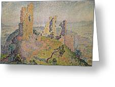 Landscape With A Ruined Castle  Greeting Card by Paul Signac