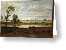 Landscape With Boatman Greeting Card