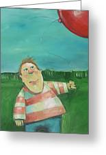 Landscape With Boy And Red Balloon Greeting Card