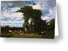 Landscape With Cattle At Limousin 1837 Greeting Card