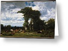 Landscape With Cattle At Limousin Greeting Card