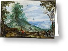 Landscape With Cattle Herd And Rider Greeting Card