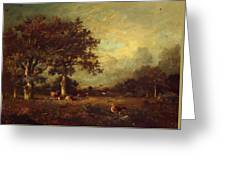 Landscape With Cows 1870 Greeting Card