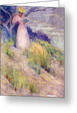 Landscape With Figure In Pink Greeting Card