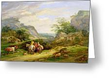Landscape With Figures And Cattle Greeting Card