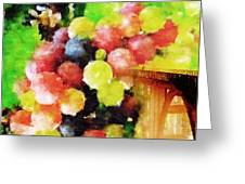 Landscape With Giant Grapes Greeting Card