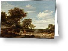 Landscape With Gracing Cows And Sheep Greeting Card